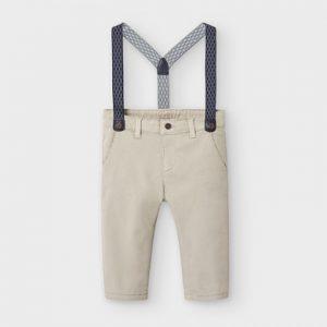 Pantalone lungo chino piqué con bretelle