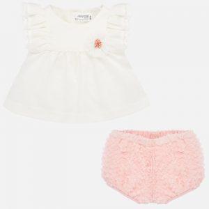 Completo blusa in tulle e culotte neonata