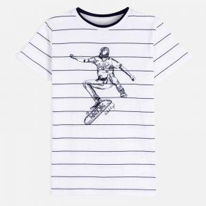 Maglietta manica corta ricamata righe ragazzo