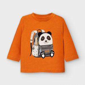 Maglietta manica lunga zaino panda bimbo