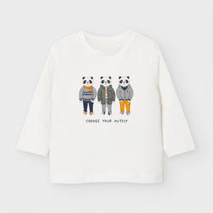 Maglietta manica lunga panda