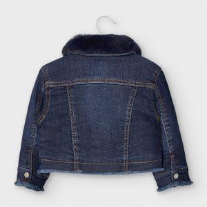 Giubbotto jeans colletto pellicciotto bimba