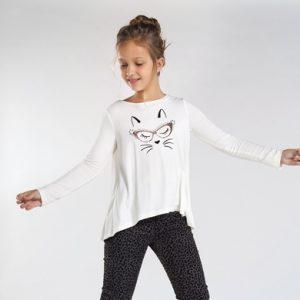 Maglietta manica lunga viscosa gatto