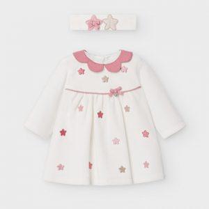 Vestito ciniglia e fascetta neonata