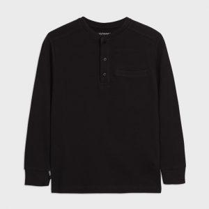 Maglietta manica lunga colletto serafino ragazzo