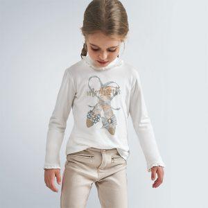Maglietta colletto alto disegno bambina
