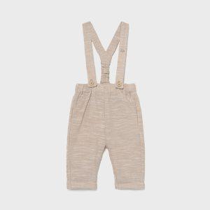 Pantalone lungo in lino con bretelle neonato