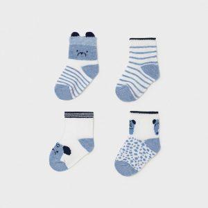 Set 4 calze neonato celesti